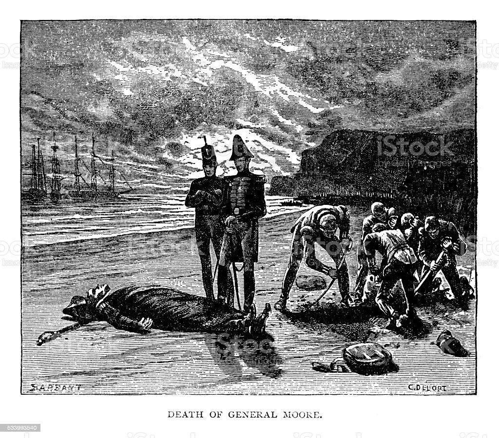 Death Of General Moore vector art illustration