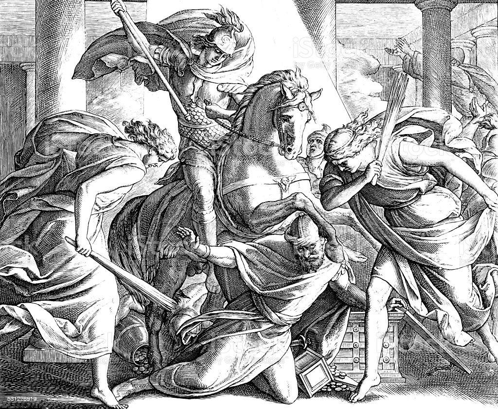 Death of Heliodorus vector art illustration