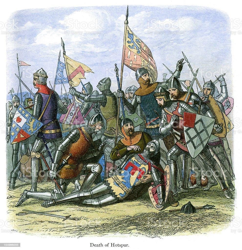 Death of Henry Hotspur Percy vector art illustration