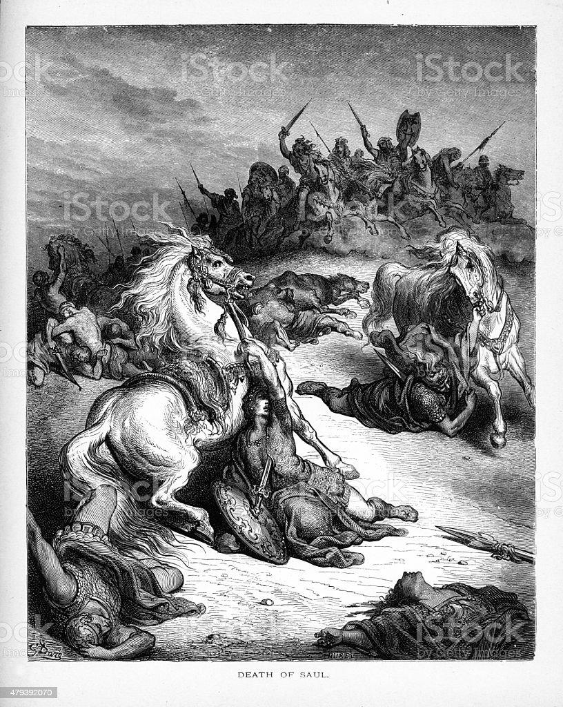 Death of King Saul Biblical Engraving vector art illustration