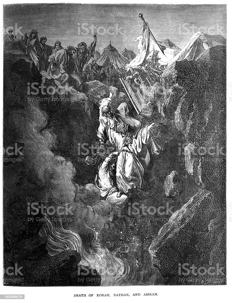 Death of Korah, Dathan and Abiram vector art illustration