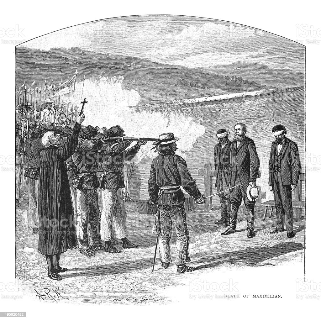 Death of Maximilian by firing squad vector art illustration