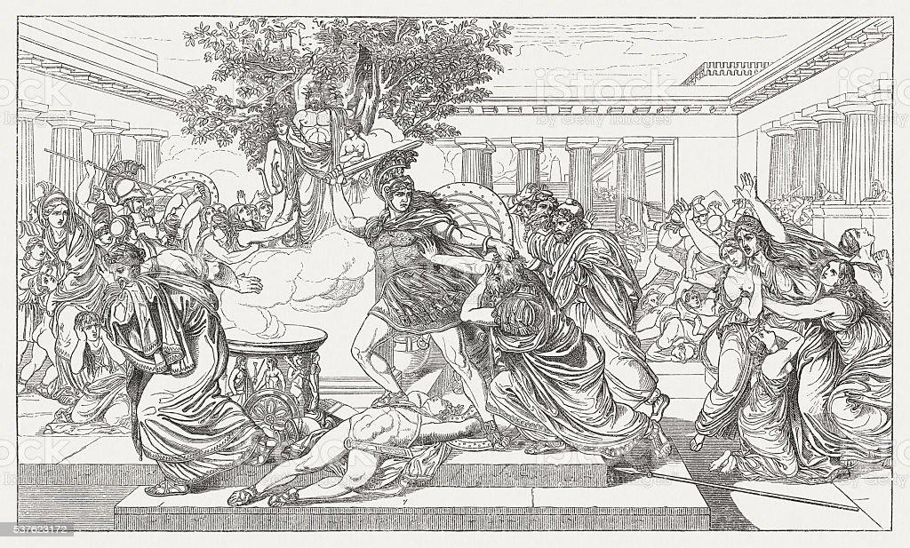 Death of Priam, Greek mythology, wood engraving, published in 1880 vector art illustration