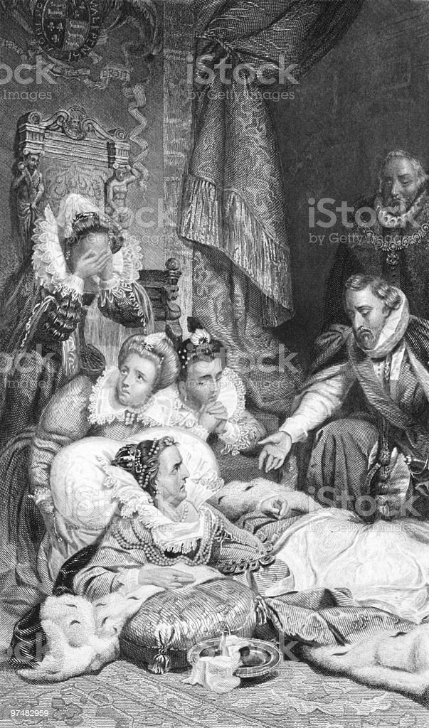 Death of Queen Elizabeth I (Dying Concept) royalty-free stock vector art