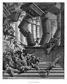 Death of Samson engraving 1870