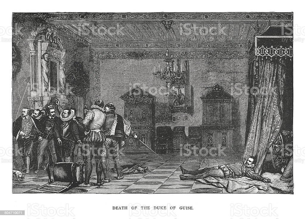 Death of the Duke of Guise (antique engraving) royalty-free stock vector art
