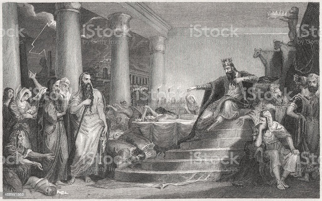Death of the Firstborn (Exodus 12), steel engraving, published 1836 vector art illustration