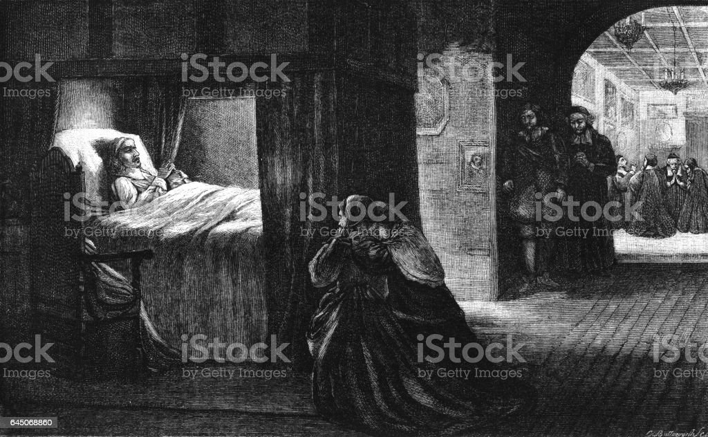 Death-bed of Oliver Cromwell, 3rd September 1658 vector art illustration