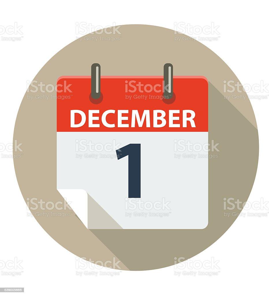 December 1 Calendar Icon vector art illustration