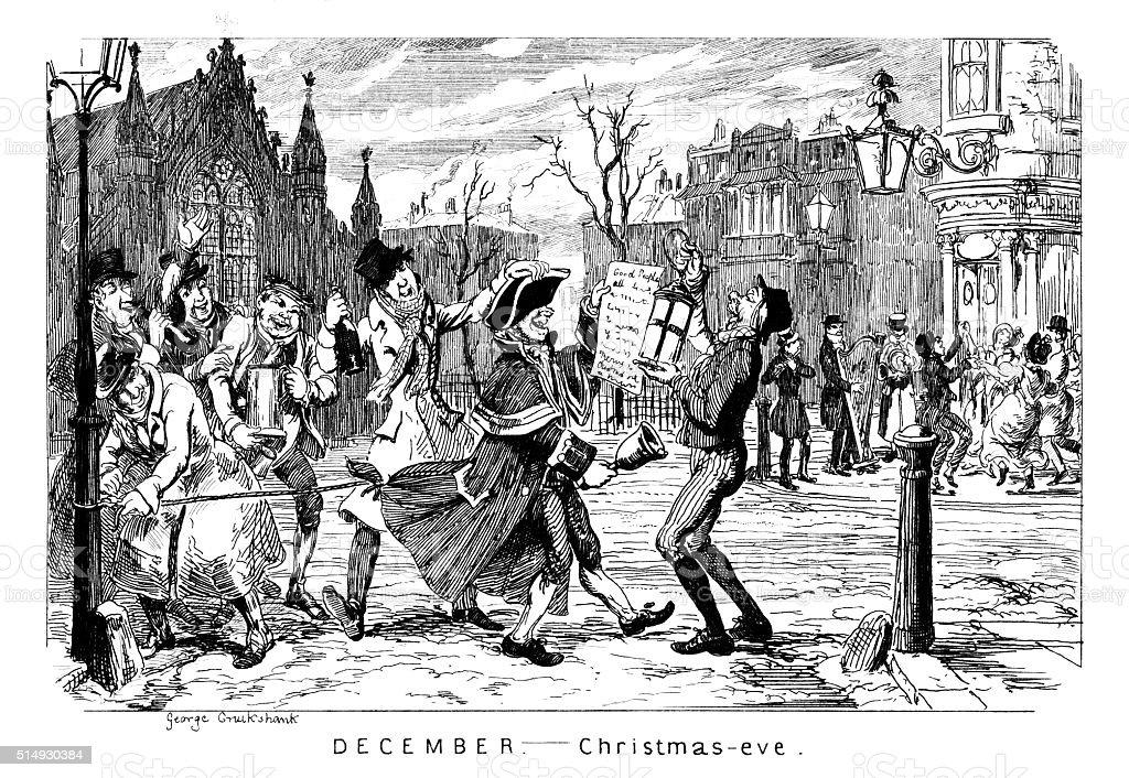 December - Christmas Eve vector art illustration