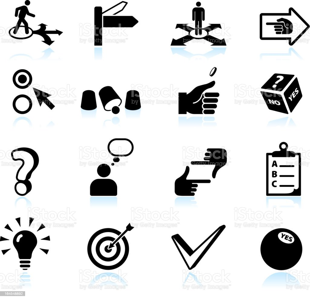 Decision making and choices black & white icon set vector art illustration