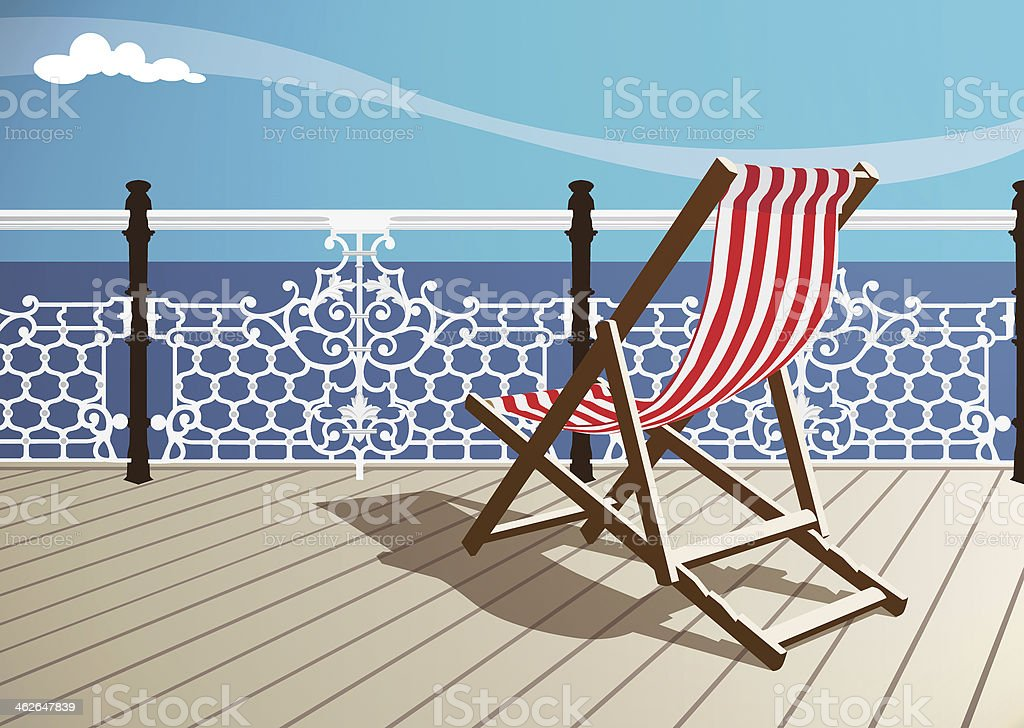 Deckchair Looking out to Sea vector art illustration