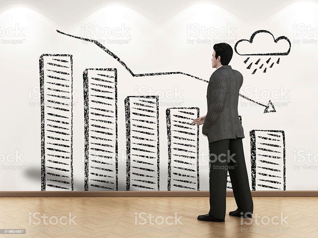 Declining sales vector art illustration