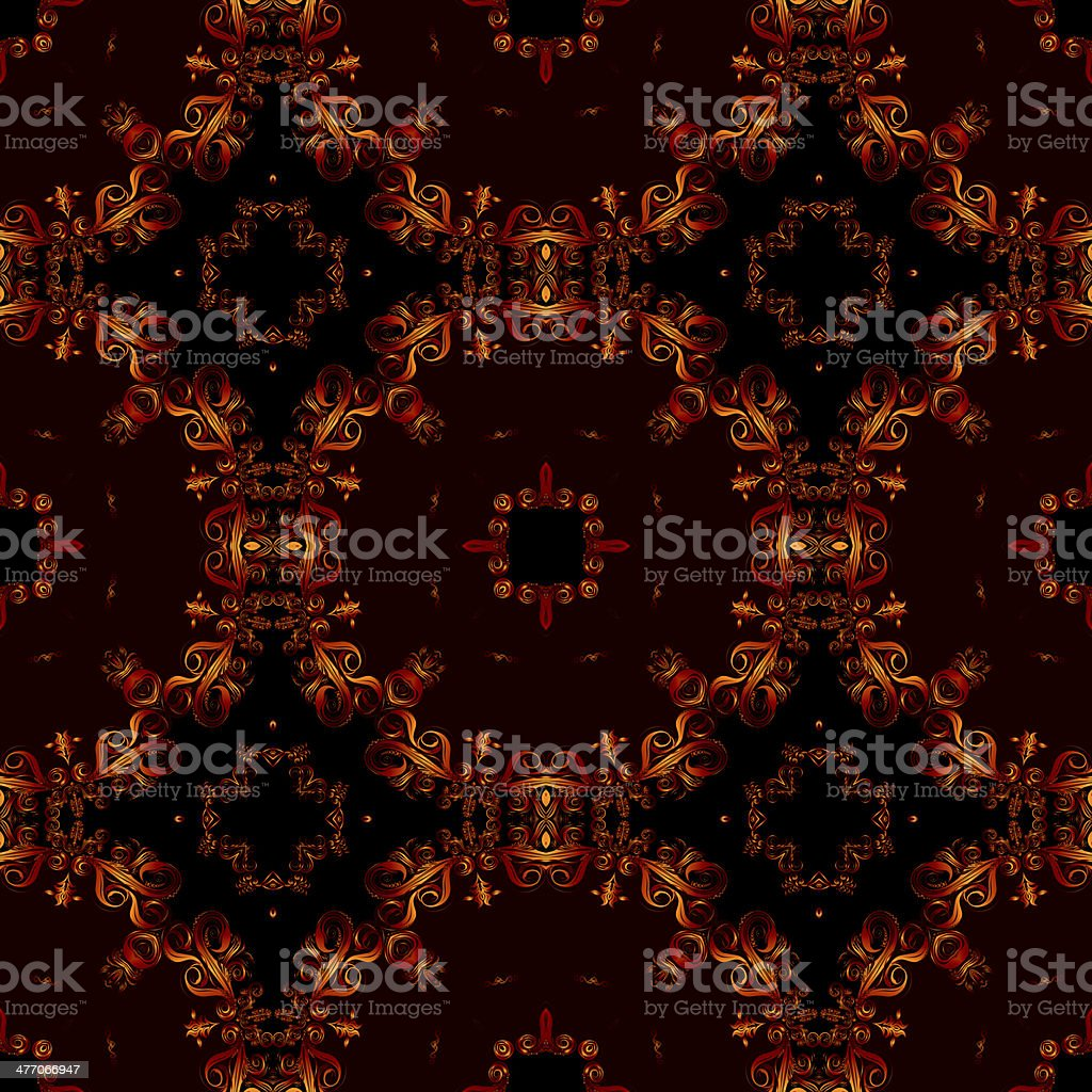 Decorative art, geometric pattern, symmetrical illustration, abstract fractals, seamless ornament. royalty-free stock vector art