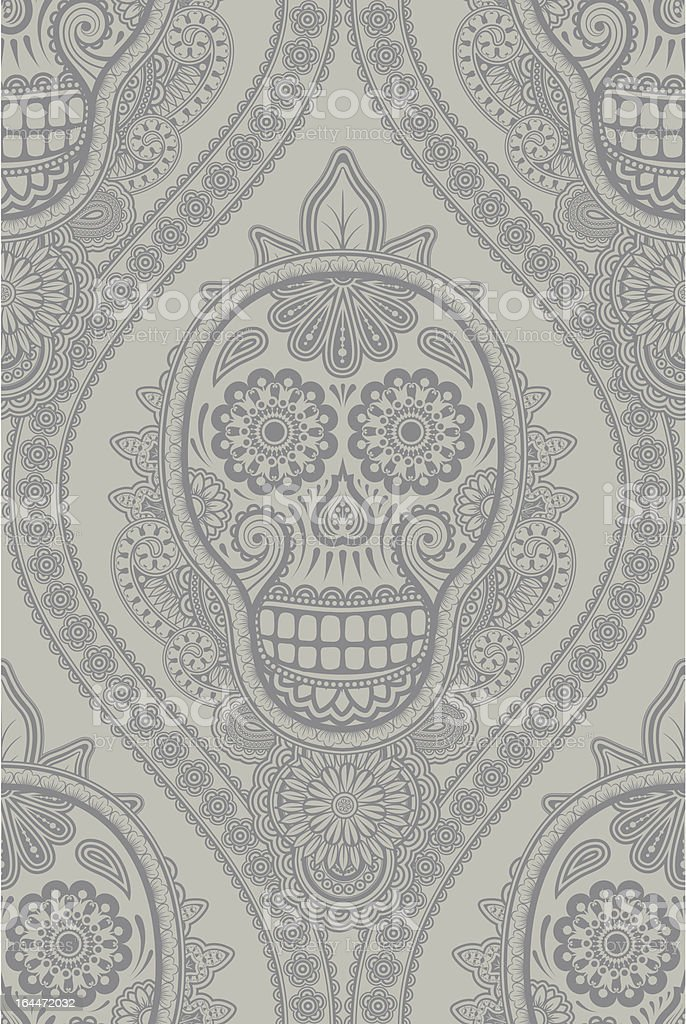 Decorative background in a retro style with skulls royalty-free stock vector art