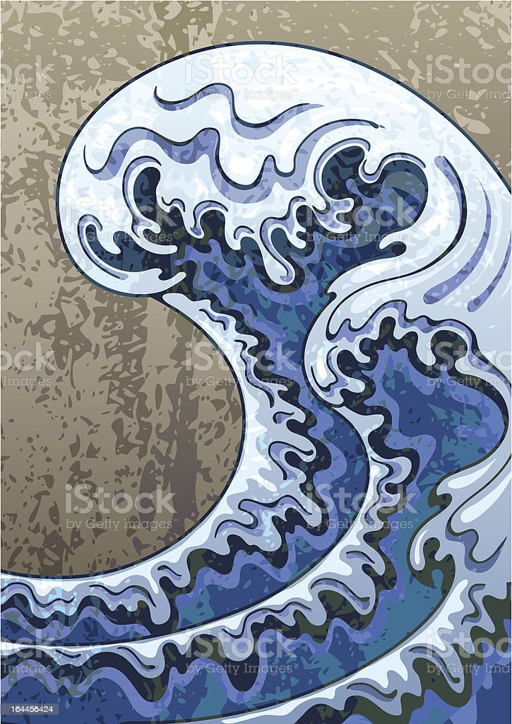 Decorative background in a retro style with waves royalty-free stock vector art