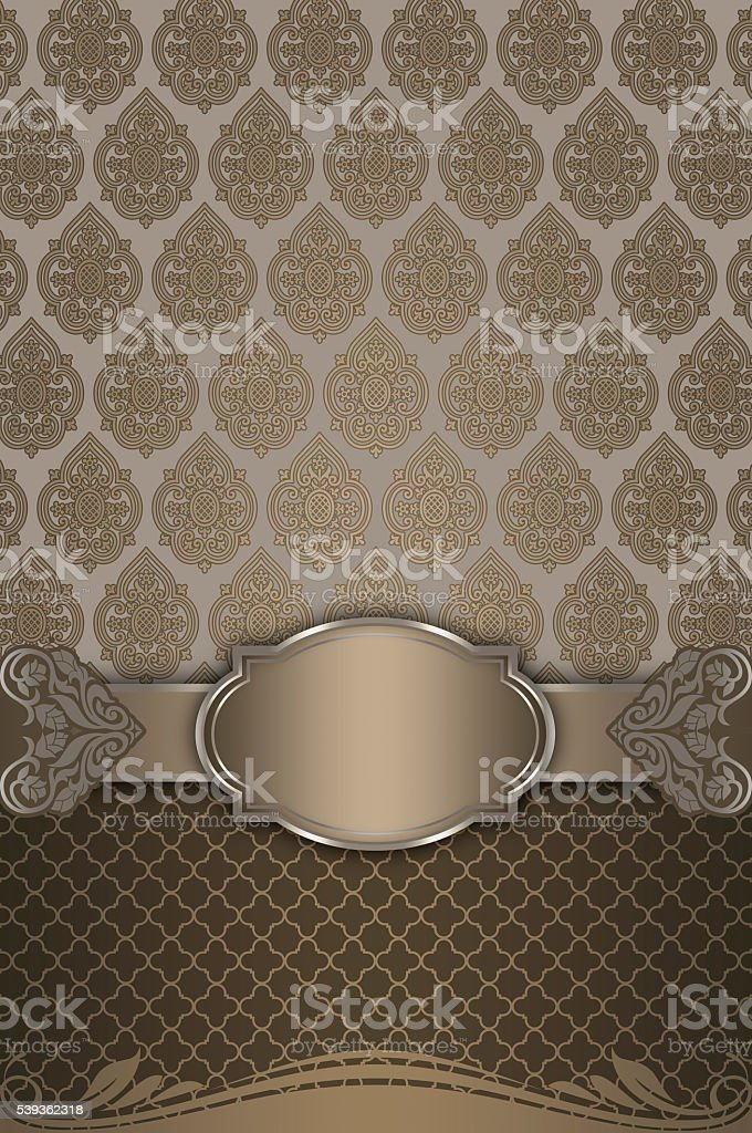 Decorative background with elegant border and vintage ornament. stock photo