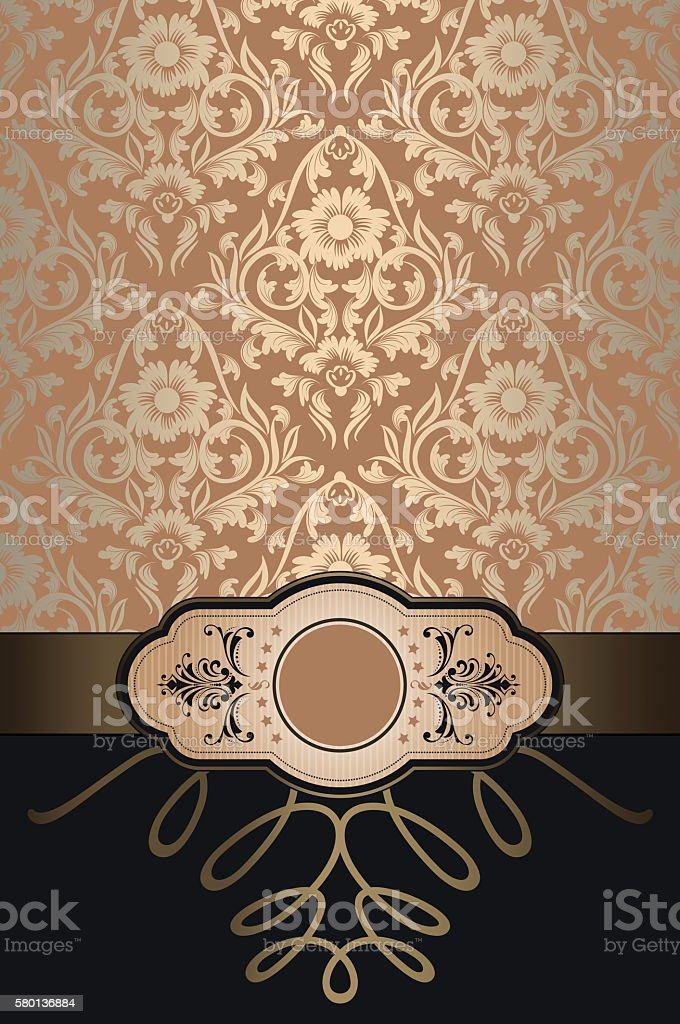 Decorative background with floral patterns and frame. stock photo