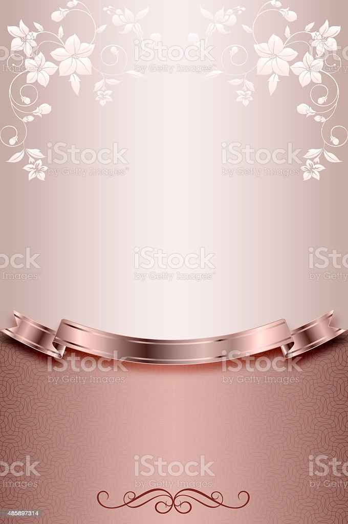 Decorative background with flowers and ribbon. vector art illustration