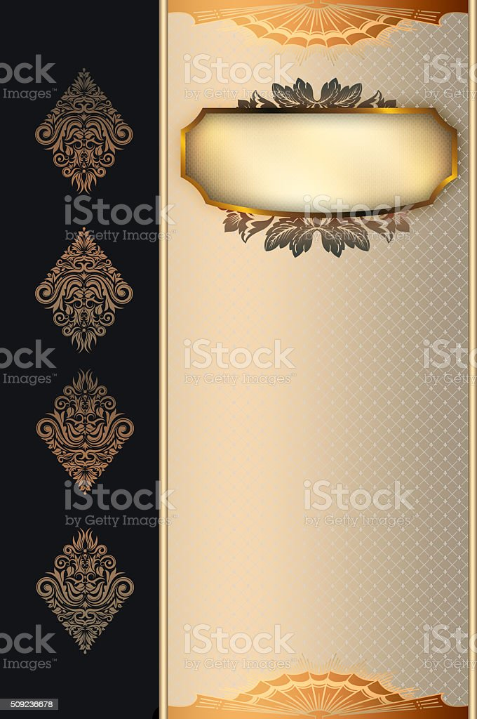 Decorative background with gold frame. stock photo