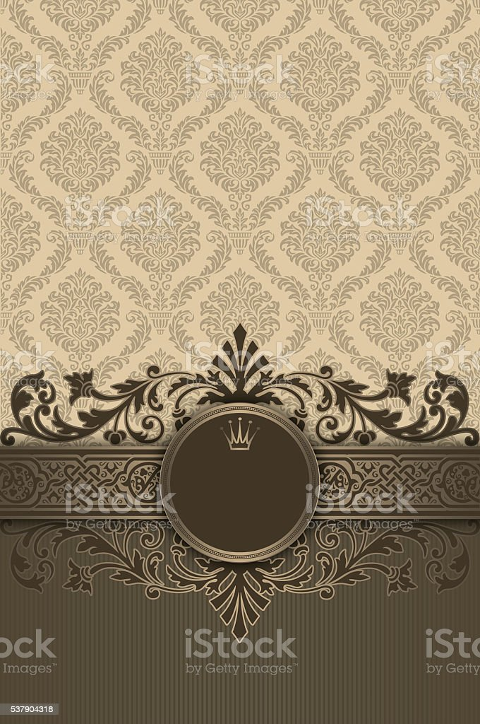 Decorative background with old-fashioned patterns and frame. stock photo