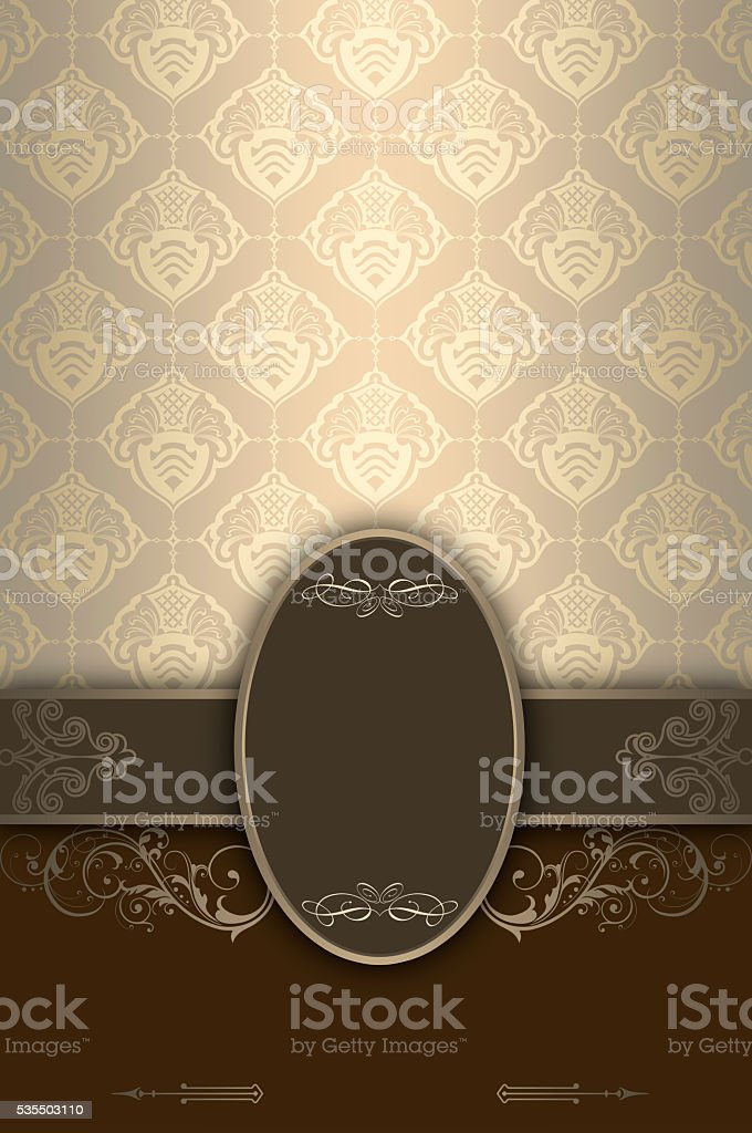 Decorative background with ornament and frame. stock photo