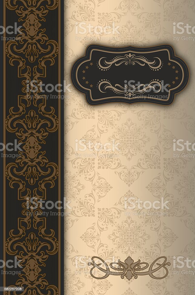 Decorative background with ornamental border and frame. stock photo