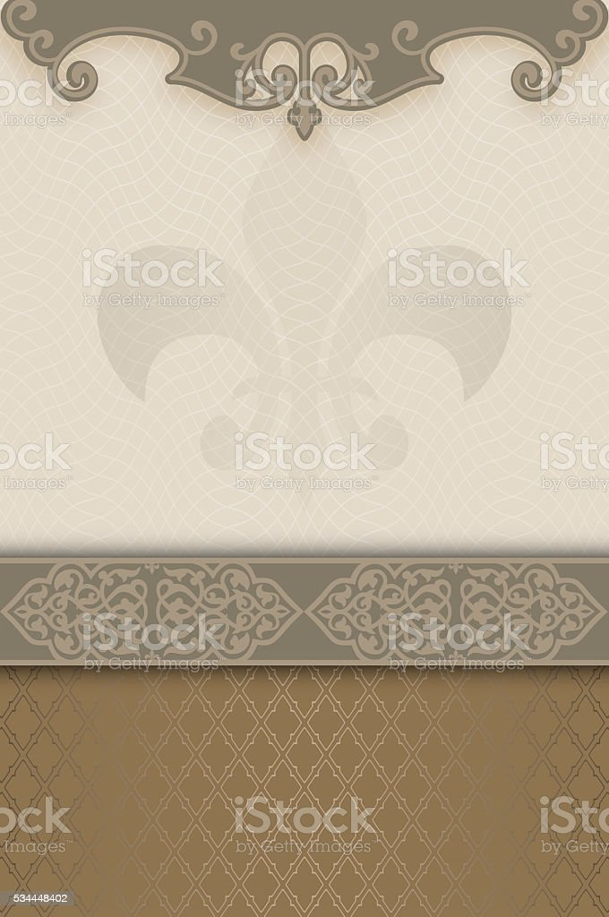 Decorative background with ornamental border. stock photo