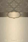 Decorative background with vintage frame and elegant patterns.