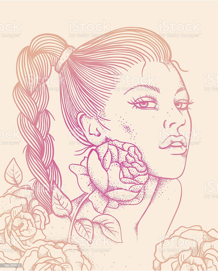 Decorative beautiful woman face and flowers vector art illustration
