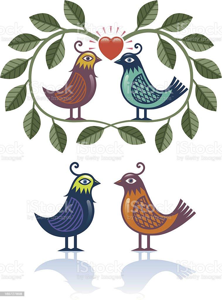 Decorative birds vector art illustration
