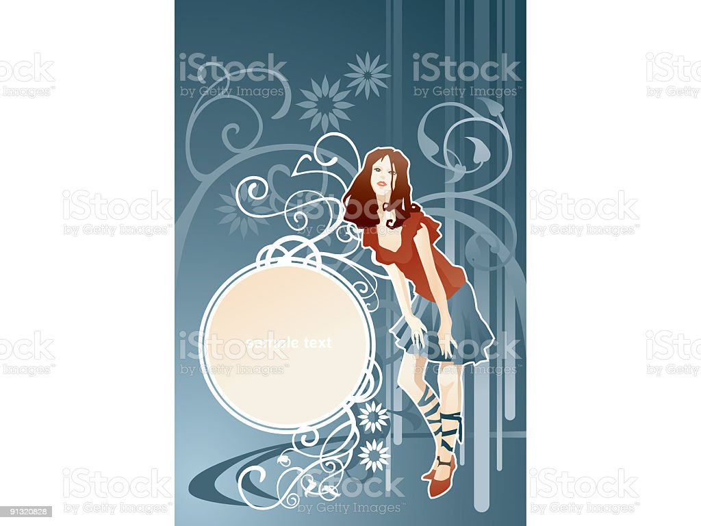 Decorative circle with woman royalty-free stock vector art
