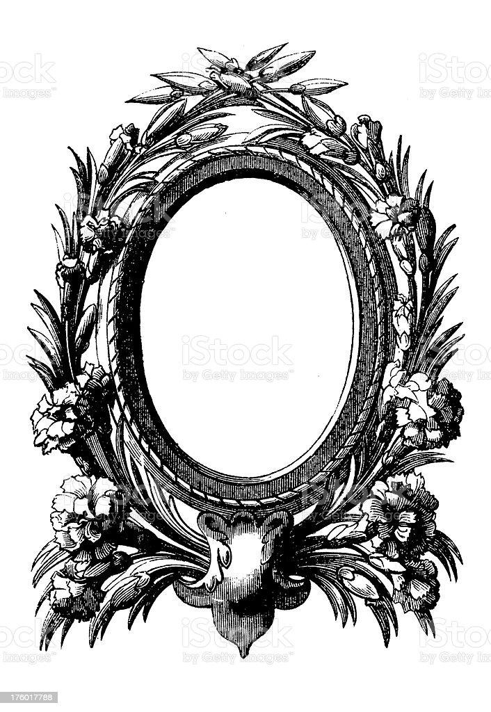 Decorative Floral Frame | Antique Design Illustrations royalty-free stock vector art