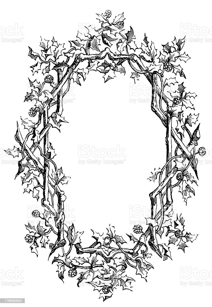 Decorative Floral Frame | Antique Design Illustrations royalty-free stock vector art