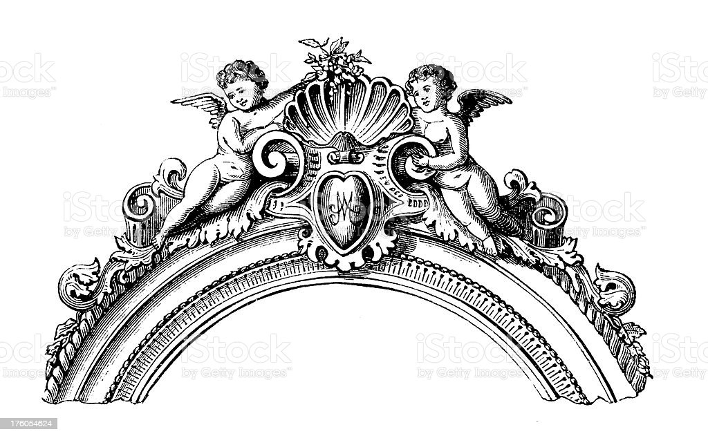 Decorative Floral Frame with Cherubs   Antique Design Illustrations royalty-free stock vector art