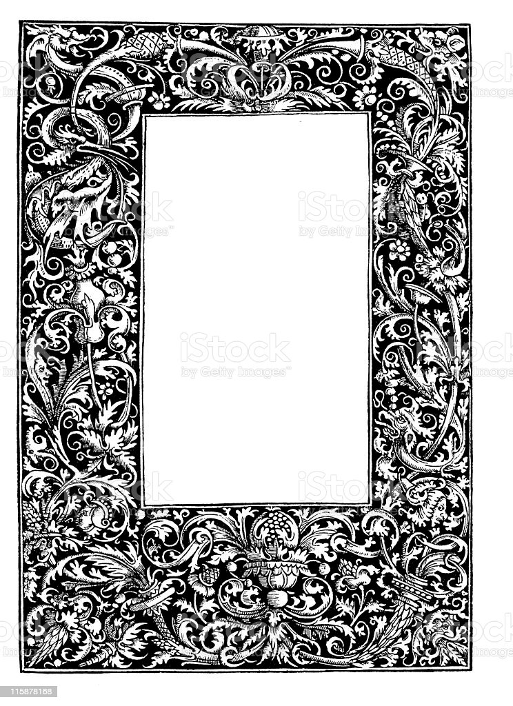 Decorative frame from 16th century vector art illustration