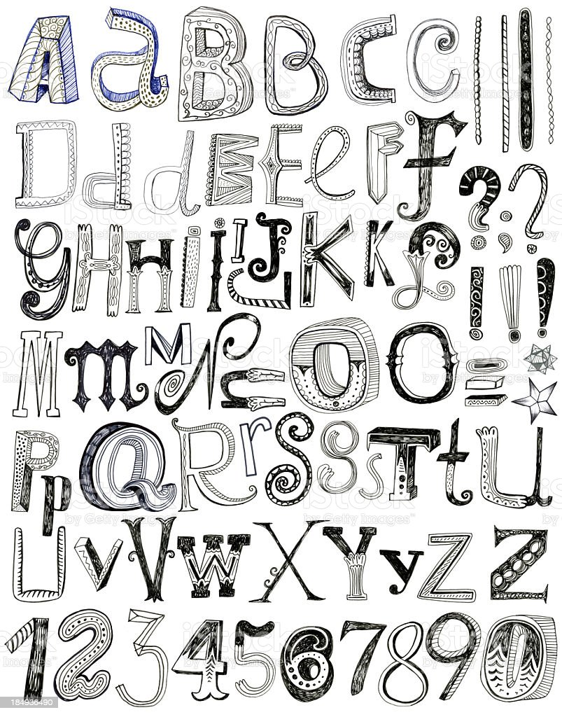 Decorative hand drawn letters and numbers isolated on white vector art illustration
