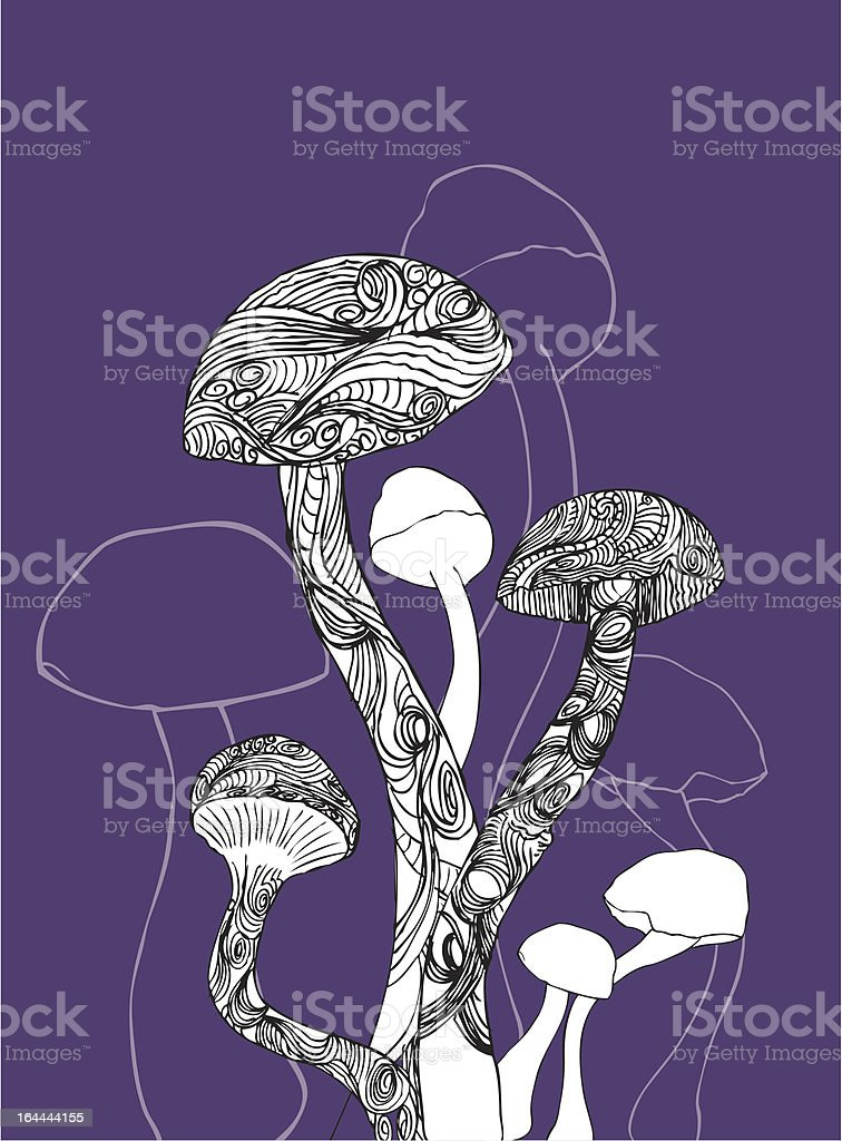 Decorative mushrooms on purple royalty-free stock vector art