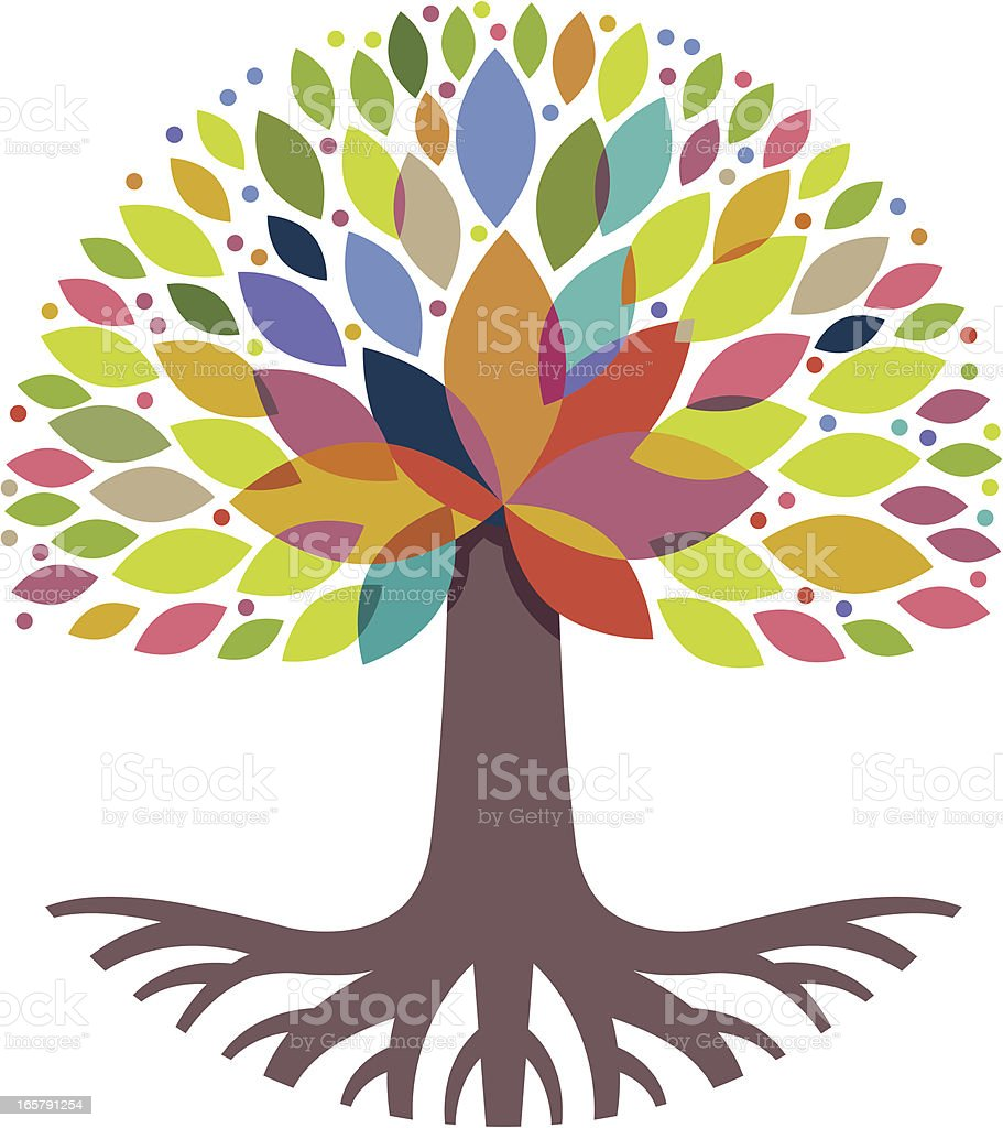 Decorative tree and roots vector art illustration