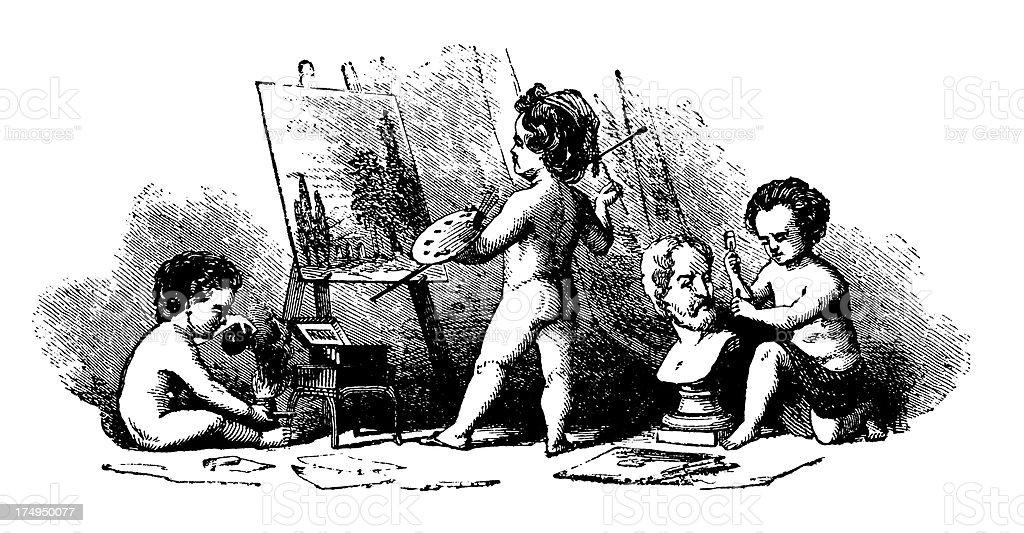 Decorative vignette with cherubs vector art illustration