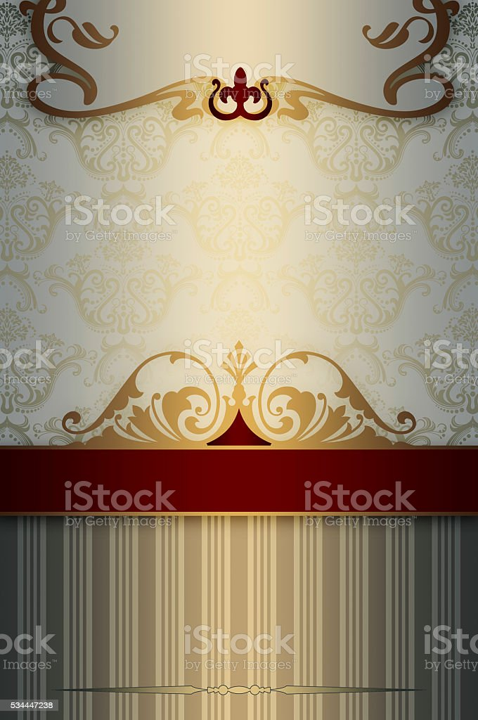 Decorative vintage background with elegant border and ornament. stock photo