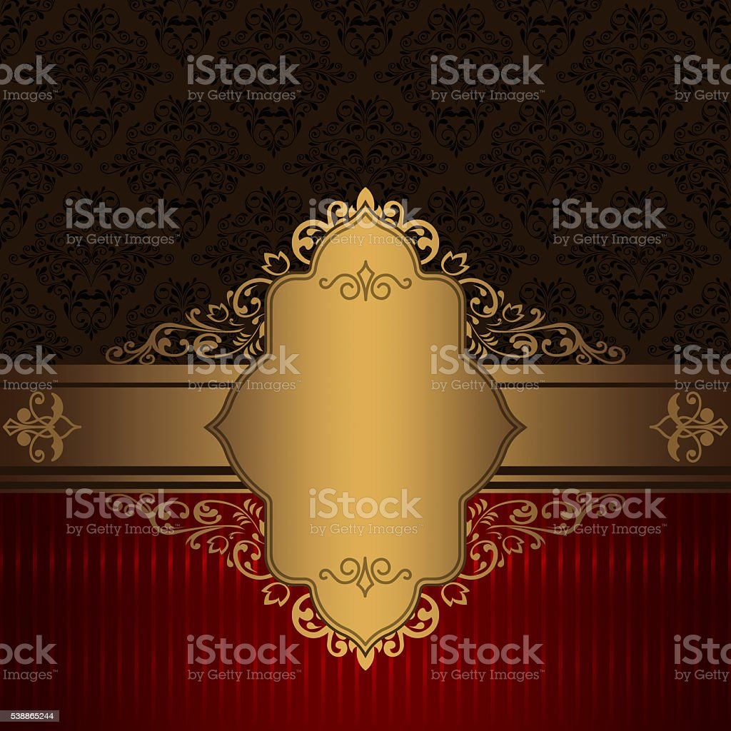 Decorative vintage background with gold border. stock photo