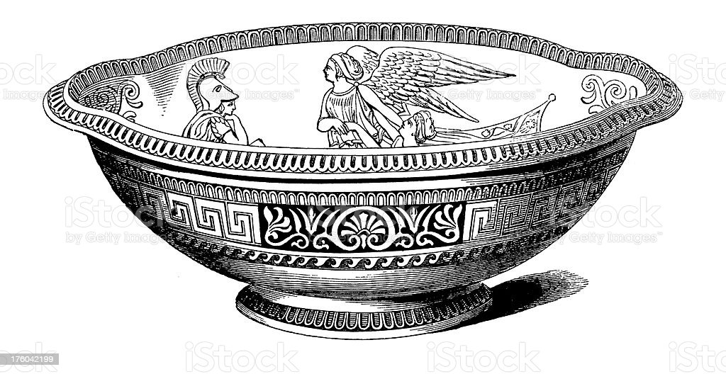 Decorative XIX-century Bowl | Antique Design Illustrations royalty-free stock vector art