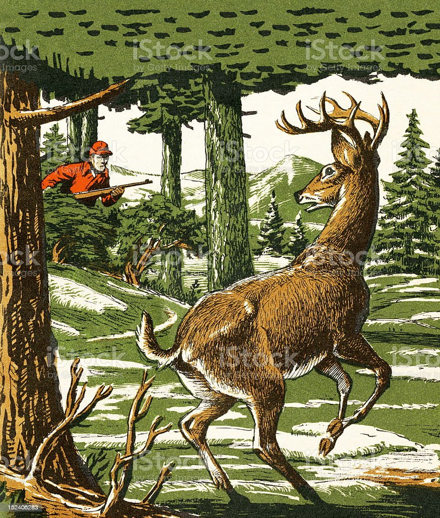 Deer and Hunter in the Woods vector art illustration