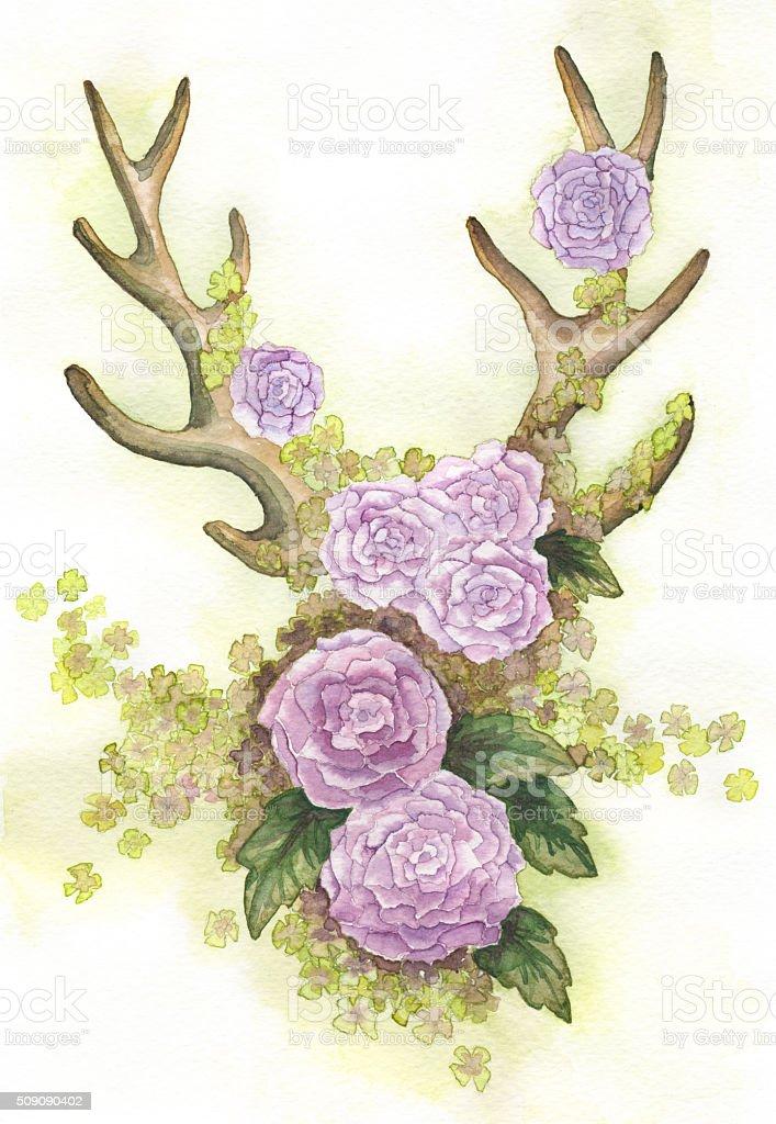 deer antler illustration with flowers vector art illustration