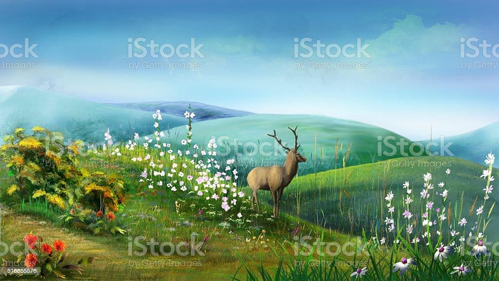 Deer in the Hills vector art illustration
