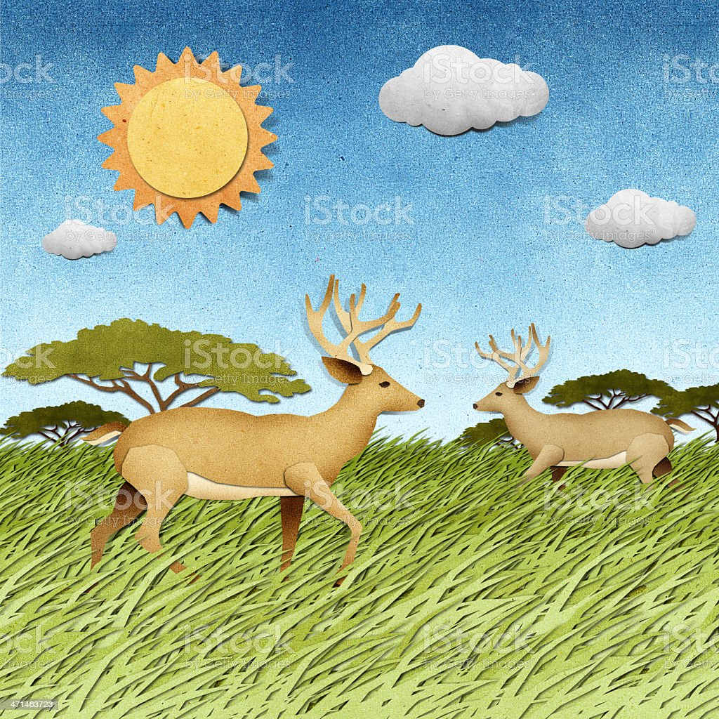 Deer made from recycled paper craft background royalty-free stock vector art