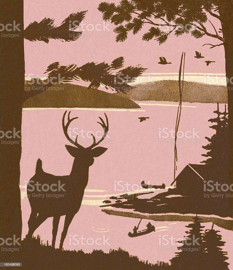Deer Silhouette Near Lake royalty-free stock vector art