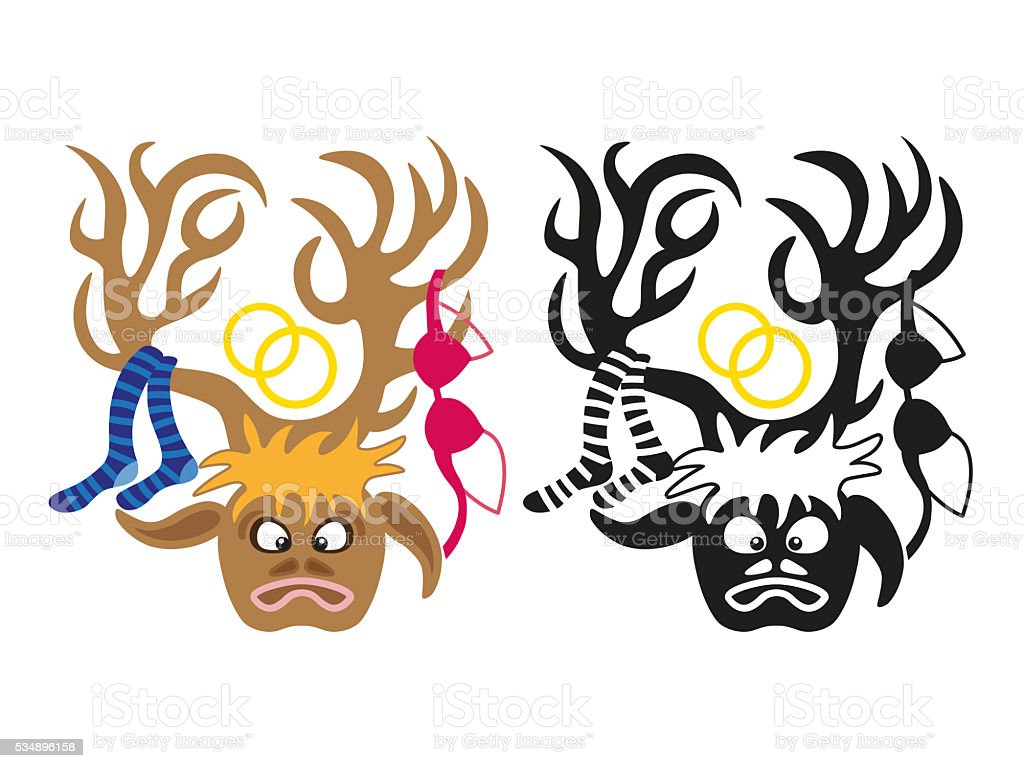 deer with wedding decorations on its horns vector art illustration