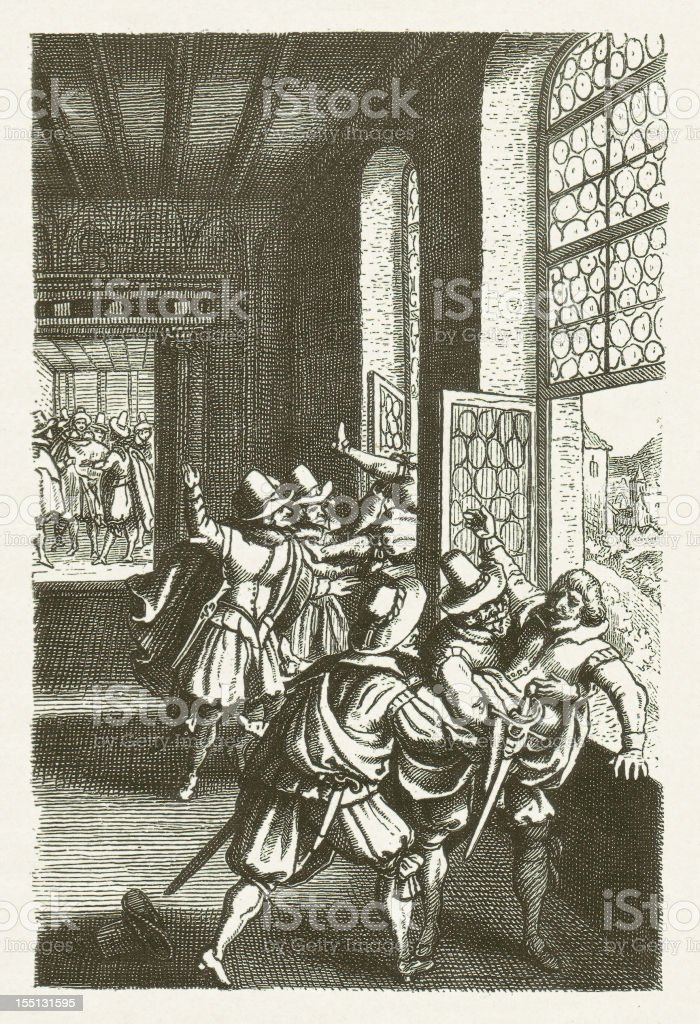 Defenestration of Prague 1618, wood engraving, published in 1881 vector art illustration